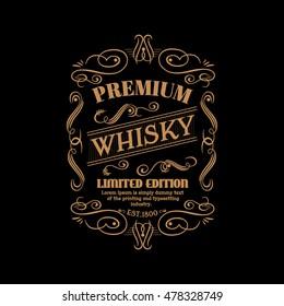 Whisky label hand drawn vintage typography blackboard retro border vector