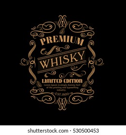Whisky premium label hand drawn vintage typography blackboard retro border vector.