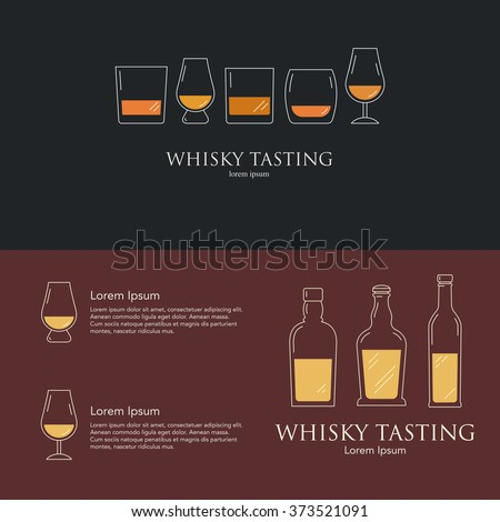 Whisky Tasting Event Party Invitations Collection Stock Vector