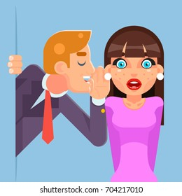 Whispering Ear Secrets Cartoon Businessman Gossip Rumor Character Super Sale Design Flat Vector Illustration