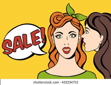 Whispering in ear. Two girls gossiping. Telling a secret. Vector illustration pop art  cartoon, hand drawn.