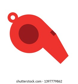 Whistle Flat icon. Kick-off sign. Referee tool symbol. Quality design elements. Technology whistle button. Editable Vector