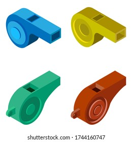 Whistle icon. Set of 4 isometric whistles isolated on a white background. Illustration for web design.
