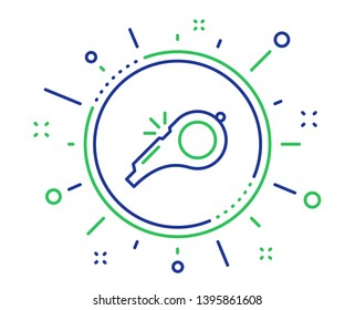Whistle line icon. Kick-off sign. Referee tool symbol. Quality design elements. Technology whistle button. Editable stroke. Vector