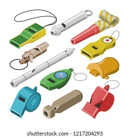 Whistle vector coach whistling sound tool and blowing equipment