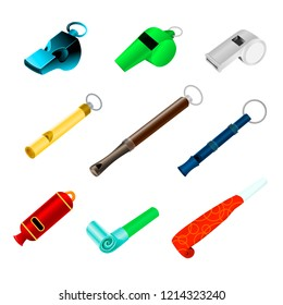 Whistle vector sport blowing equipment referee judge game and coach whistling sound tool illustration set of trainer whistle-blowing on competition isolated on white background