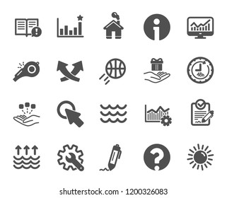 Whistle, Waves and Sun icons. Customisation, Global warming and Question mark signs. Signature Rfp, Information and Efficacy icons. Waves, Consolidation and Operational excellence. Vector