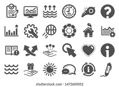 Whistle, Waves and Sun icons. Customisation, Global warming and Question mark signs. Signature Rfp, Information and Efficacy icons. Waves, Consolidation and Operational excellence. Quality set. Vector