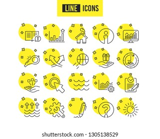 Whistle, Waves and Sun line icons. Customisation, Global warming and Question mark signs. Signature Rfp, Information and Efficacy symbols. Gift box, Consolidation and Operational excellence. Vector