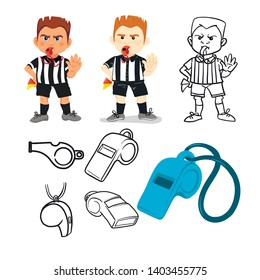 Whistling soccer referee showing stopping hand during match, human character vector illustration. Sport hand drawn cartoon, football arbitrator, whistle icon soccer judge, football coach, police blow