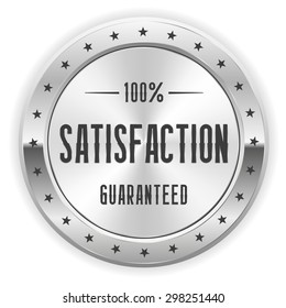 White 100 percent satisfaction badge with silver border