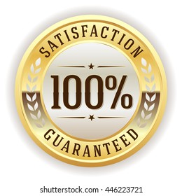 White 100 percent satisfaction button, badge with gold border