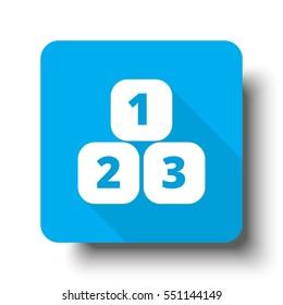 White 123 Blocks icon on blue web button