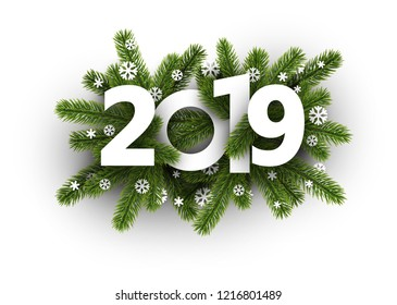 White 2019 background with fir branches and beautiful snowflakes. Greeting card or promotion poster template. Vector illustration.