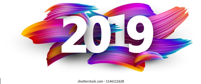 White 2019 new year background with spectrum brush strokes. Colorful gradient brush design. Banner or poster template. Vector paper illustration.