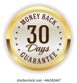 White 30 days money back button, badge with gold border