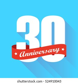white 30th anniversary logo vector with red ribbon and shadow effect all in bright blue square flat design