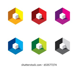 white 3D 3 Dimensional cube inside colorful hexagon box with light and shadow
