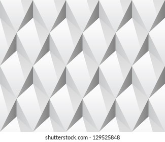 White 3d abstract seamless texture (vector). Modern concept pattern (rhombus). Bright background (illustration).
