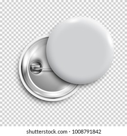 White 3d blank badge,round button,pin button isolated. Vector template,vector realistic illustration,mockup