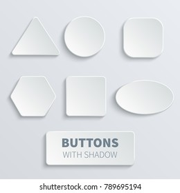 White 3d blank square and rounded button vector set. Button banner round, badge interface for application illustration