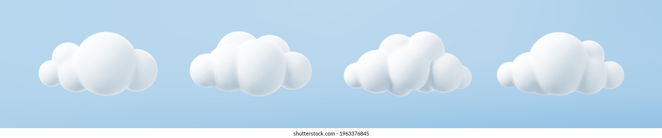 White 3d clouds set isolated on a blue background. Render soft round cartoon fluffy clouds icon in the blue sky. 3d geometric shapes vector illustration