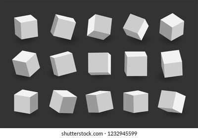 White 3D cubes pack isolated on black background. Different light, perspective and angle. Vector illustration