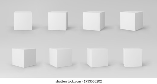 White 3d cubes set with perspective isolated on grey background. 3d modeling box with lighting and shadow. Realistic vector icon