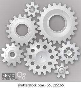 White 3d gears  on the gray background.  Infographic template. Vector design. eps10