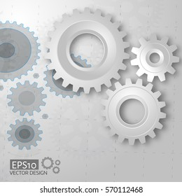 White 3d gears on the gray blueprint  background. Infographic template. Cover template. Vector design. eps10