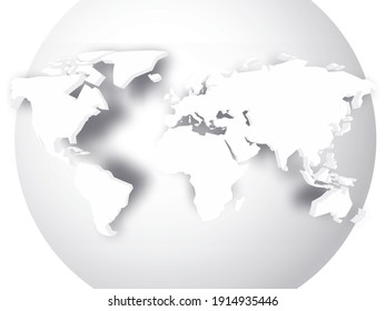 White 3D map of world with dropped shadow on white globe. Worldwide theme wallpaper. Rendered three-dimensional EPS10 vector illustration.