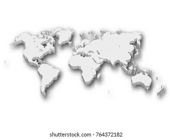 White 3D map of World with shadow isolated on white on background. EPS10 vector illustration.