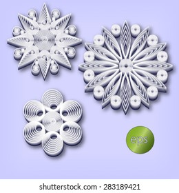 White 3d quiling style snowflakes set