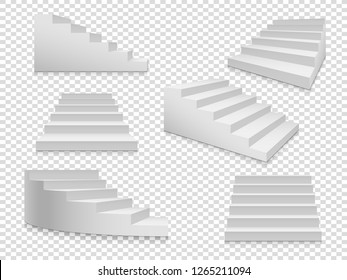 White 3d stairs. Vector ladder or stairway up to success, home staircase on transparent background