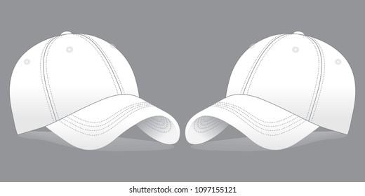 128e455fe00 White 6 Panel Baseball Cap   Perspective view