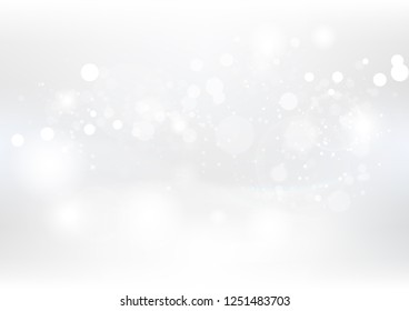 White abstract background, Christmas and new year, dust and particles scatter with stars blinking sparkle fantasy seasonal holiday celebration vector illustration