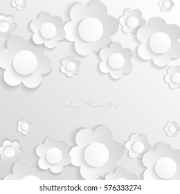 White abstract background with white flowers. Delicate 3D greeting card for the International Women's Day. Congratulations on March 8! Cut paper elements. Origami, applique. World Day of the woman.