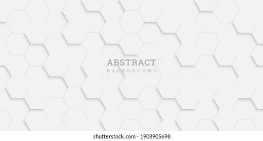 White abstract background with hexagons. Geometric backdrop 3D.  Vector illustration with honeycomb in realistic style. White wall. Horizontal banner. Modern design for wallpaper, flyer, poster. Stock