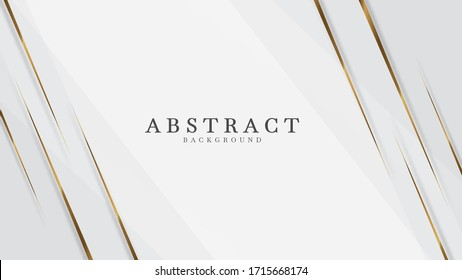 White  abstract background luxury with line gold 3d paper cut style. vector illustration about design modern concept.