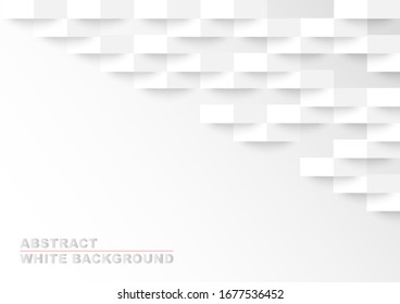 White abstract background. Vector 3d paper texture.