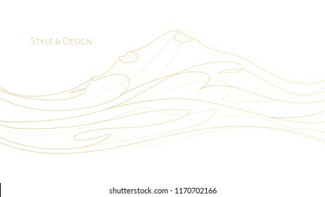 White abstract background, wallpaper design with golden line hills, waves, text. Music premium art concept with waveforms, gold lines, modern print. Electronic, classic musical creative illustration
