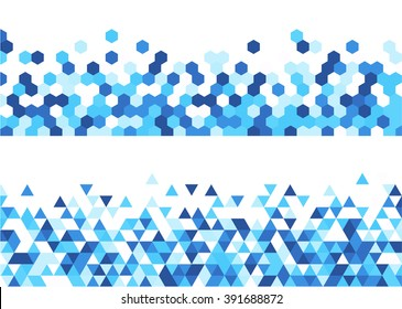 White abstract banners set with blue figures. Vector illustration.