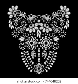 white abstract embroidery artwork design for neckline clothing, isolated vector on black background