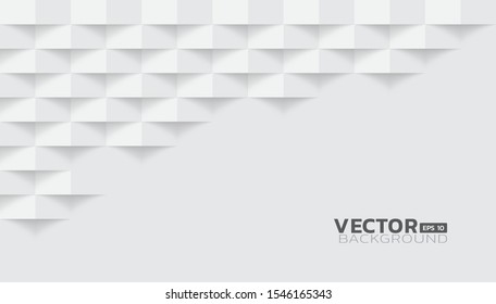 White abstract modern square texture background, 3d paper art style that looks creased design, Vector illustration