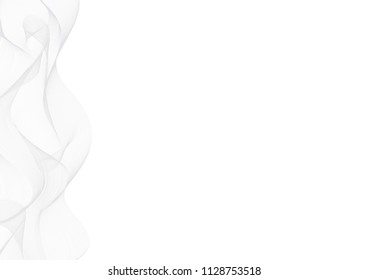 White Abstract Modern Vector Backround. Light Grey Vertical Waves. Simple Delicate Layout.