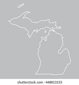 white abstract outline of Michigan map