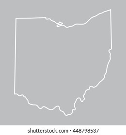 white abstract outline of Ohio map