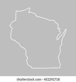 white abstract outline of Wisconsin map