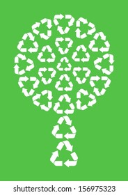 white abstract tree made of recycle symbols on green background