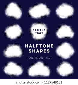 White abstract vector halftone shapes text place collection